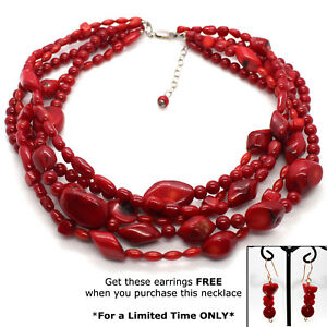 BAMBO-RED-CORAL-Bead-NECKLACE-Mix-sizes-Tumble-Round-Barrel-5-Strand-w-FREE-ERRs