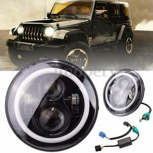 7 Quot Round Led Headlights Halo Angle Eyes Fit Jeep 97 2015