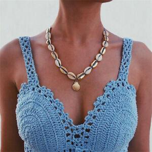 Handmade-Boho-Sea-Shell-Conch-Femmes-Lady-Choker-Chaine-Collier-Pendentif-Bijoux