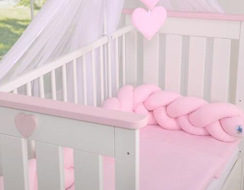 Kopfschutz für Kinderbett Farbe rosa uni Geflochtenes Nestchen
