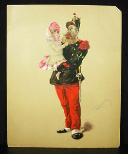 P-G-Robert-Drawing-c1870-Soldier-Bearded-amp-Little-Girl-Militaria-Costume
