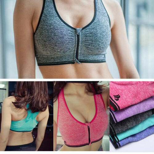 Womens Ladies Padded Sports Bra Front Zip Yoga Gym Ladies Workout Running Vest