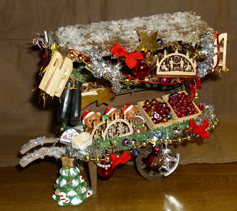 TROLLEY-Mercato di  Natale Ste A RUOTE-molti accessori miniatura 1 12 RARO RAR  alta qualità genuina