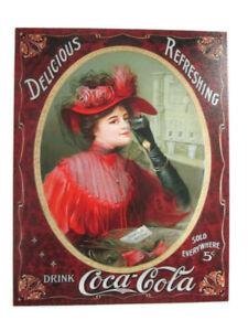 Coca-Cola-Retro-Tin-Sign-16-034-x-12-5-034-Delicious-and-Refreshing-BRAND-NEW