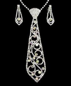 Detalles de Alfiler Corbata de Mujer Collar Ab Cristal Bañado en Plata Fina Gargantilla