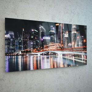 ANY-SIZE-Wall-Art-Glass-Photo-Print-Canvas-Picture-City-Lights-Water-p115070