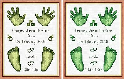 New Baby Birth Sampler Hands and Feet FlowerPower37-uk PDF Cross Stitch Chart