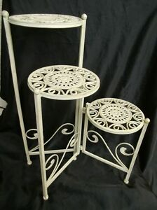 blumenbank blumenst nder blumentisch 3er antik wei zusammenklapbar hoch 65cm ebay. Black Bedroom Furniture Sets. Home Design Ideas