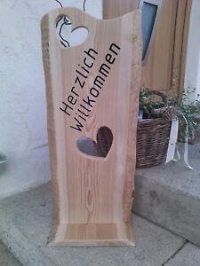 Holz Deko Schild Herzlich Willkommen Haustur Cnc Gefrast Unikat