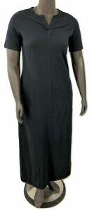 New-35-Value-Denim-amp-Co-Size-PS-Black-Sht-Slv-Split-V-Perfect-Jersey-Maxi-Dress