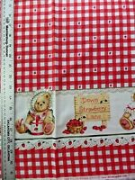 Strawberry Lane Double Border Print 100% Cotton Fabric By The 1/2 Yard Vintage