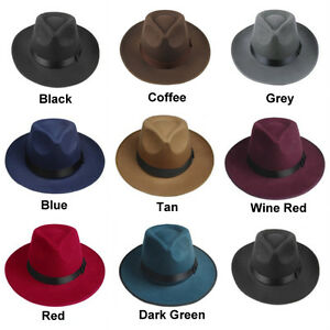 5a2a2f08d69 Fashion Unisex Hard Felt Panama Hat Fedora Trilby Hats Gangster Caps ...