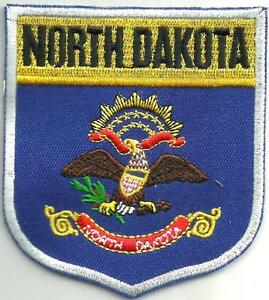 State Of North Dakota Flag Shield Small Sew On Patch Brand New No Tags