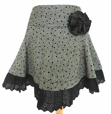 NEXT Grey Black SKATER SKIRT Wool Mix HEARTS PRINT Flared FLOUNCY Lolita 10 NWT