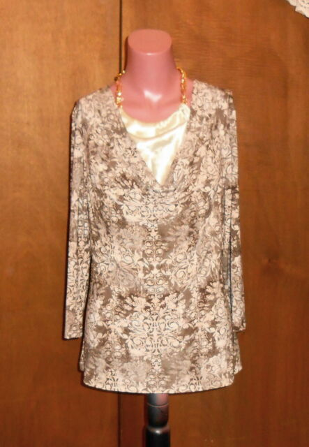 Stretch Brown Floral Cowl Neck Top Built in Chain Halter NWT b. Street sz M