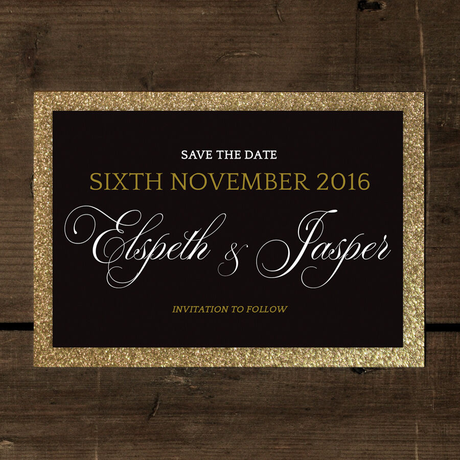 Fabulous Wedding Save the Date or Save the Evening - Gold Glitter Effect, Luxury