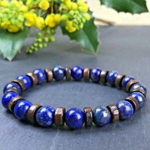 Bracelet-Homme-Femme-Perles-Naturelle-Lapis-Lazuli-Taille-au-choix