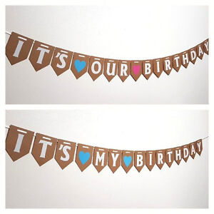 its my birthday bunting party decorations girl boy twin baby shower