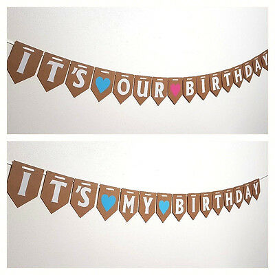 Its Our Birthday Bunting Party Decorations Girl Boy Twin Baby Shower Banner Uk Ebay
