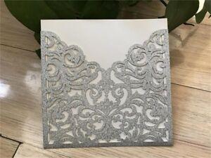 Image is loading 25-50Glitter-Silver-Wedding-Invitation-Card-Laser-Cut-