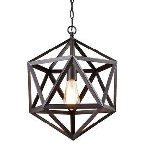 Details About Metal Geometric Pendant Light Hexagon Hanging Fixture Chain Hung Lighting