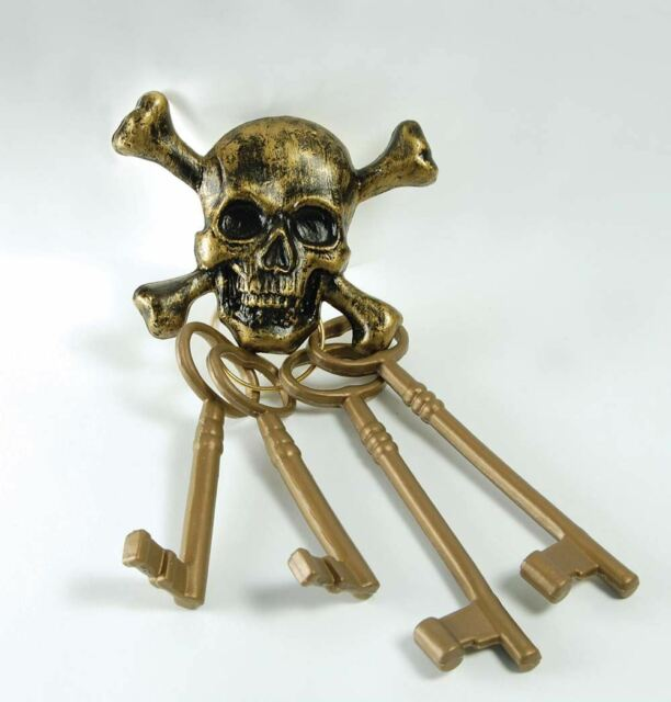 PIRATE ACCESSORY GOLD SKELETON KEYS CAPTAIN JACK SPARROW SHIP FANCY DRESS SKULL