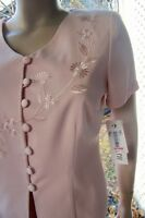 PLAZA SOUTH 10 P MOTHER BRIDE PINK BEAUTIFUL BEADS/EMBROID DRESS SKIRT SUIT NWT