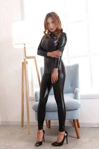 Elastico Spandex Zipper Lattice Full Body Tuta Catsuit Costume Cavallo Zipper
