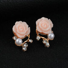 1Pair Fashion Women Gold Plated Rose Pearl Ear Stud Earrings Jewelry Gift