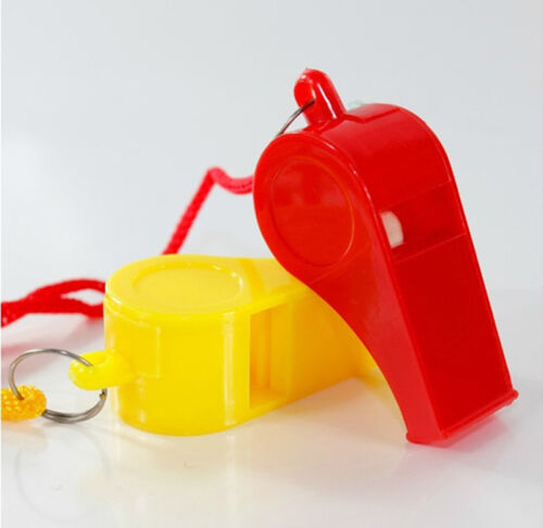 Lot of 24 Plastic Whistle /& Lanyard Emergency Survival Newest M/&C