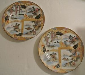 Antique-Meiji-Period-Japanese-SIGNED-Hand-Painted-Porcelain-8-5-034-PLATES-Geisha