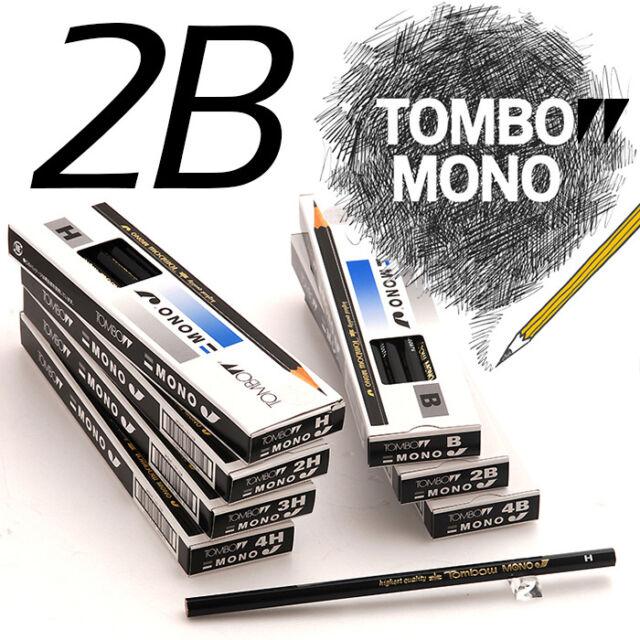 TOMBOW MONO J Highest Quality Drawing Pencils 12 Pcs 1 Dozen -2B