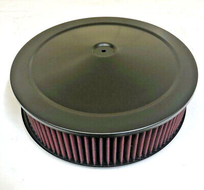 """14/"""" x 4/"""" Chrome Round Air Cleaner Flat Base Washable Filter Chevy Ford"""