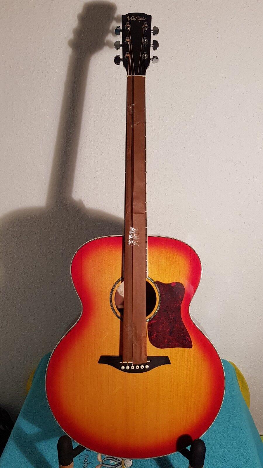 Guitarra Guitarra Guitarra Acústica  Jumbo  VJ100CSB por Vintage (VJ1 001)  estilo clásico