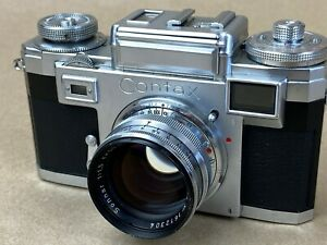 Contax-IIIa-Rangefinder-Color-dial-camera-w-50mm-F-1-5-Zeiss-Sonnar-Works-Great