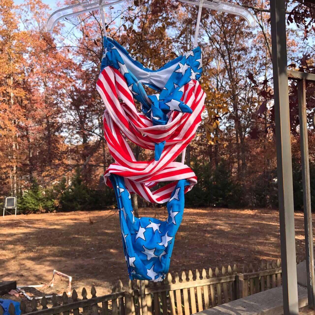 Size 36  Adidas Jeremy Scott Stars & Stripes USA Flag Bathing Swimsuit X30165
