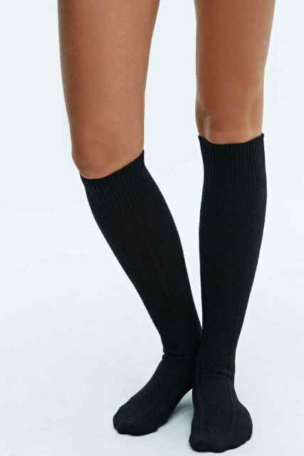 e873789d5 2 X Urban Outfitters Chunky Pattern Over The Knee Socks - Black Size ...