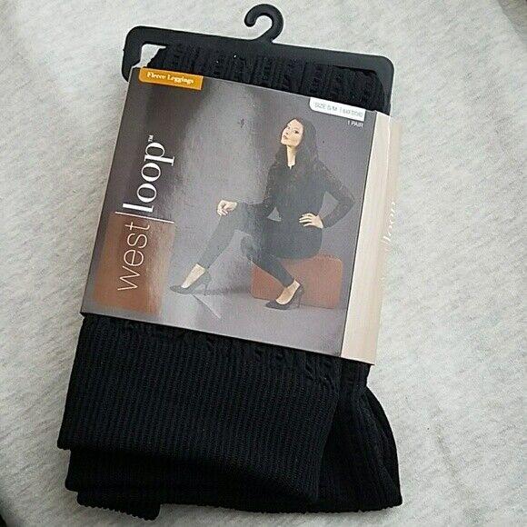 West Loop Women's sz M L 8 10 12 Fleece Lined Leggings Dark Grey Yoga High Waist