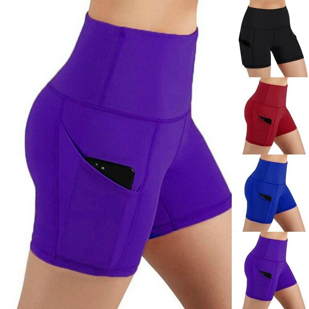 Damen Hohe Taille Yoga Shorts Taschen Fahrrad Biker Hotpants Fitness Leggings US