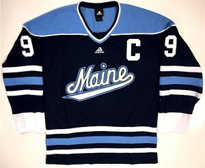 size 40 d6e8c a2a09 Details about PAUL KARIYA MAINE BLACK BEARS ADIDAS REPLICA BLUE JERSEY  ANAHEIM DUCKS LARGE NEW