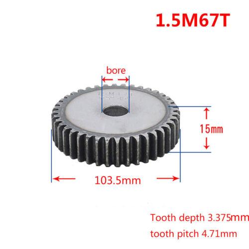 1.5 Mod Spur Gear 12T-90T Teeth Transmission Gear 15mm Thickness 45# Steel Gear