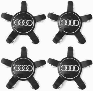 4-x-135mm-Audi-Schwarz-Felgendeckel-Nabenkappen-Allufelgen-Black-Alloy-Wheel-Cap