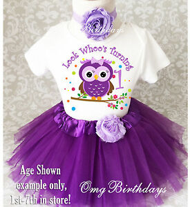 d53d23ac9 Purple Owl Look Who's Baby Girl 1st First Birthday Tutu Outfit Shirt ...