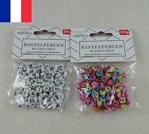 Sachet 160 Perles Lettres Artisanales Lettre Alphabet A à Z Blanc ou Multicolore