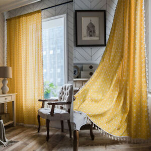 Yellow Geometry Pattern Tassel Curtains Bedroom Living Window Drapes Home Decor Ebay