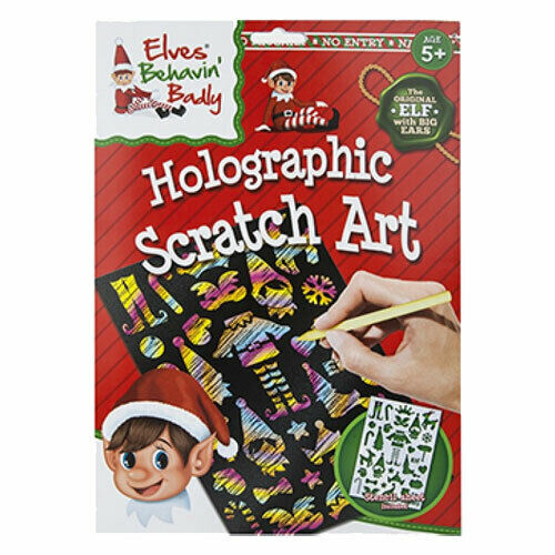 Elves Christmas Holographic Scratch Art Stencil Set Elf Xmas Craft Activity Kit