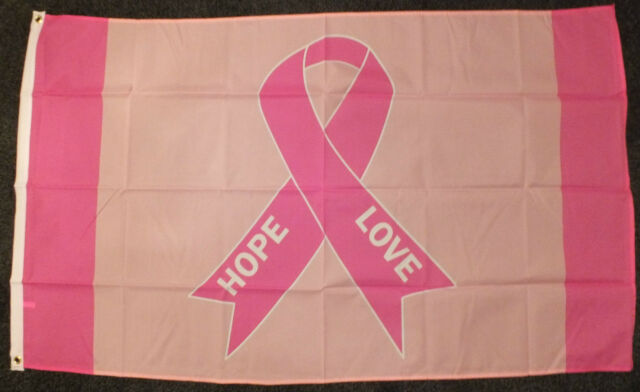 Pink Ribbon Flag 5x3  Breast Cancer Remembrance Survivor Walk For Life Charity