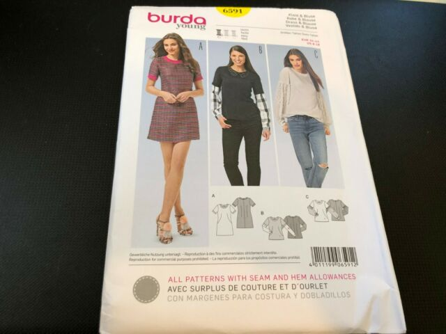 Burda Young Pattern 6591 Ms Dress w//Band Sleeves~Top w//Two-in-One Sleeves 8-18