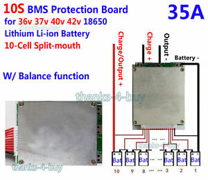 10S 36V 30A Lithium Cell 18650 Balance Battery Protection Module BMS PCB Board