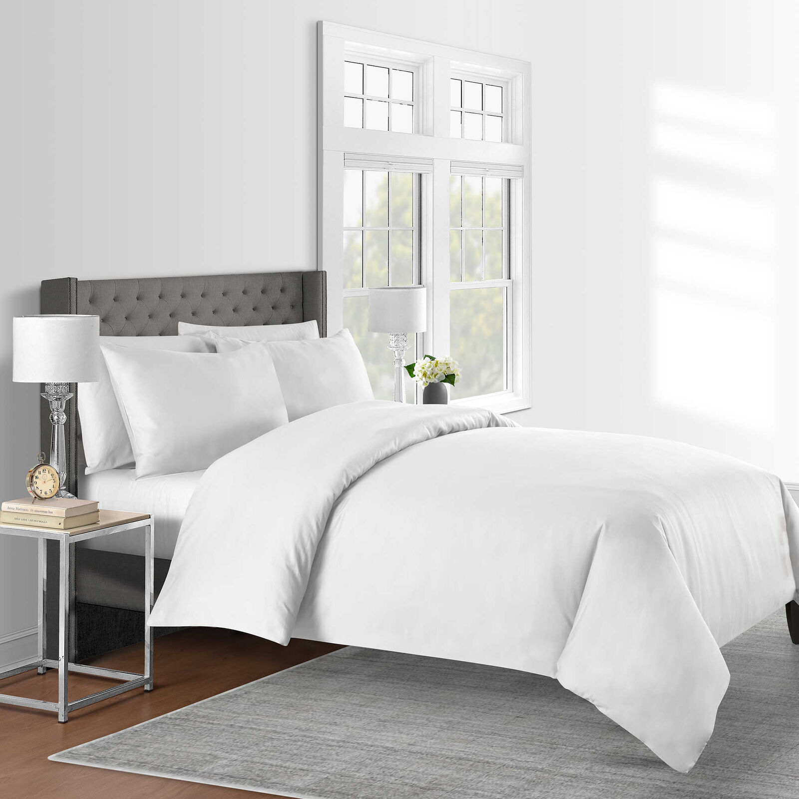 625 Thread Count Solid King Duvet Cover Set in White 3 Piece 100% Cotton